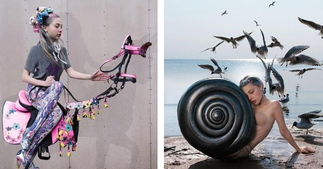 instagram pictures by russian artist that seem like they are from another world - cover pic woman on saddle and woman on beach with snail shell