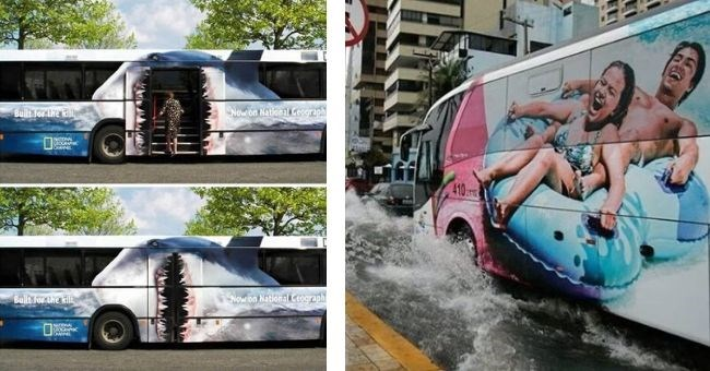 Pictures of crazy bus advertisements - cover pic bus with shark opening mouth for doors and bus with people on water slide with puddle