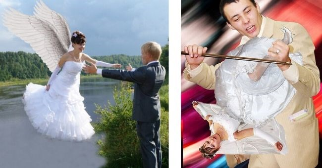russian wedding pictures badly photoshopped - cover pic bride with angel wings flying to her groom and groom playing a violin in the shape of his bride