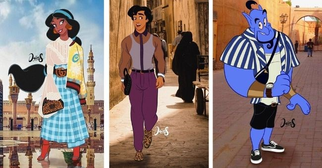 pictures of disney characters wearing street fashion in place of their regular clothes - cover pic jasmine, Aladdin and the genie