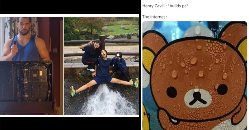 Funny Twitter memes and reactions to Henry Cavill building a PC | girl posing with her legs spread over a fountain of water | Üther @MissFortuneAte Henry Cavill builds pc internet: Sweating Rilakkuma