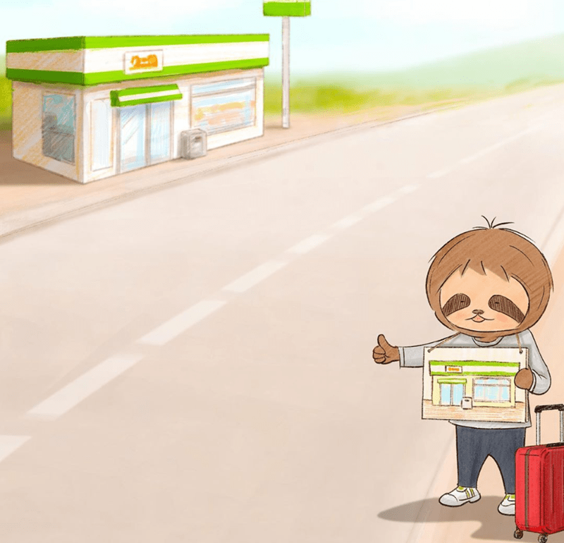 Funny sloth comics | cute cartoon illustration comic book panel little sloth boy with a suitcase hitchhiking to get to a building very close to him funny lazy slow