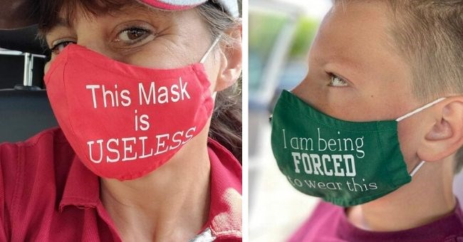 "pictures of funny masks for anti-maskers - cover pic masks saying ""this mask is USELESS"" and ""I'm being forced to wear this mask"""