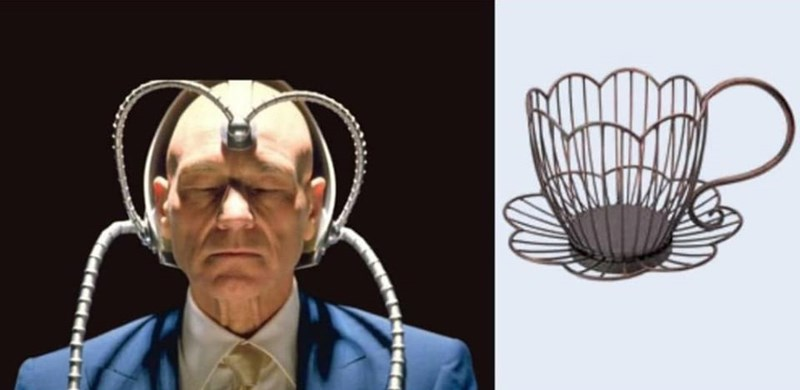 Funny Twitter thread containing images of Patrick Stewart dressed up like various teacups | X-Men Professor X in a Cerebro helmet and a teacup made of wire