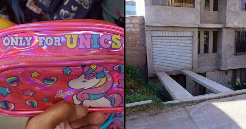 funny design fails in construction, products and signs | ONLY UNICS pencil case unicorn misspelling | concrete tracks above the ground floor leading to a garage door on the second floor unsafe scary wtf