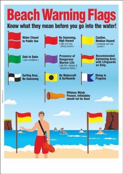 top ten daily infographics guides | Person - Beach Warning Flags Know they mean before go into water! Water Closed Public Use No Swimming, High Hazard (high surt and strong curent) Caution, Medium Hazard (moderate surf and current) Presence Dangerous Marine Life (jely fish stingray dangerous fishei) Recommended Swimming Area with Lifeguards on Duty. Safe Swim calm condions) Surfing Area, No Swimming No Watercraft Surfboards Diving Progress Offshore Winds Present, Inflatables should not be Used