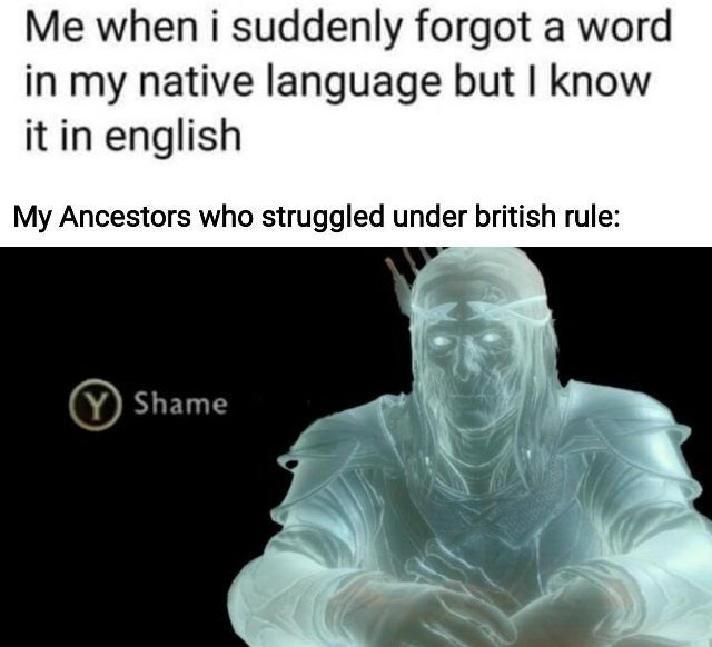 top ten 10 memes daily | suddenly forgot word my native language but know english My Ancestors who struggled under british rule press Y to Shame