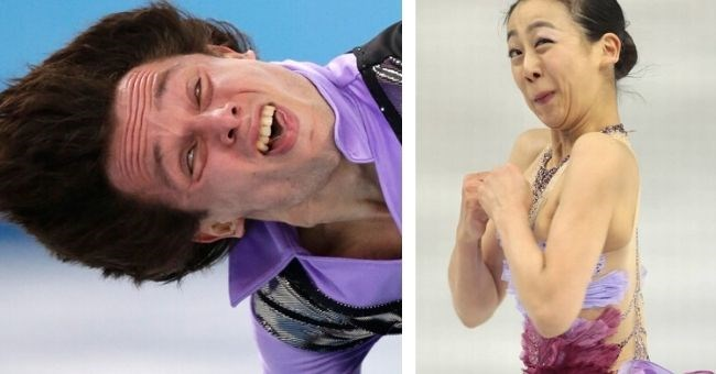 pictures of funny and contorted faces of Olympic Figure Skaters