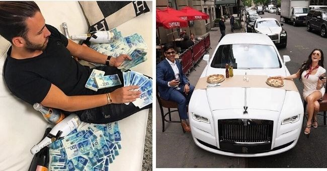 pictures of rich kids showing off their wealth on Instagram - boy sitting in pile of money and couple eating pizza on a nice car