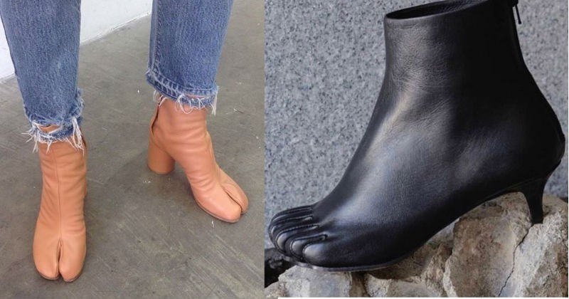 A collection of totally absurd shoes to laugh at | creepy wtf shoes shaped like cloven hooves tan skin color heeled boots