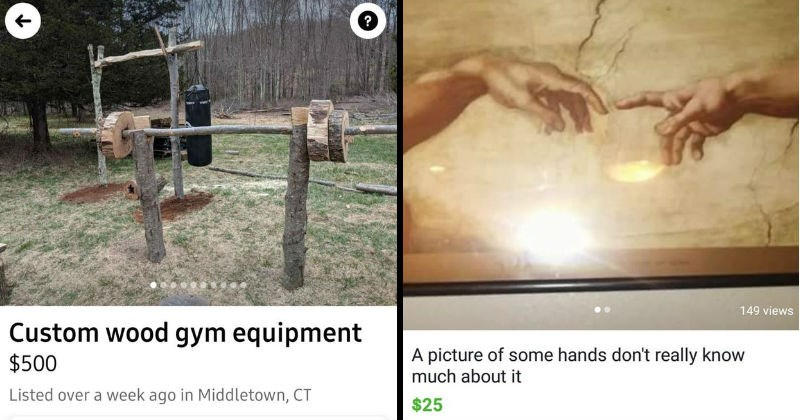 weird things people tried selling on craigslist and facebook marketplace | Custom wood gym equipment $500 Listed over week ago Middletown, CT Send seller message Hello, is this still available? | picture some hands don't really know much about The Creation of Adam Michelangelo