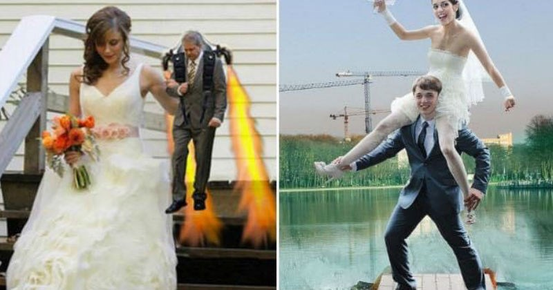 Funny Russian wedding photoshop | weird wtf edited wedding photos bride descending down stairs with tiny groom wearing a jet pack | bride sitting on groom's shoulders in the middle of a lake