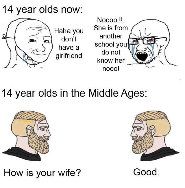 top ten 10 memes daily | 14 year olds now: Noo0o She is Haha another don't school do not have girlfriend know her nooo! 14 year olds Middle Ages is wife? Good.