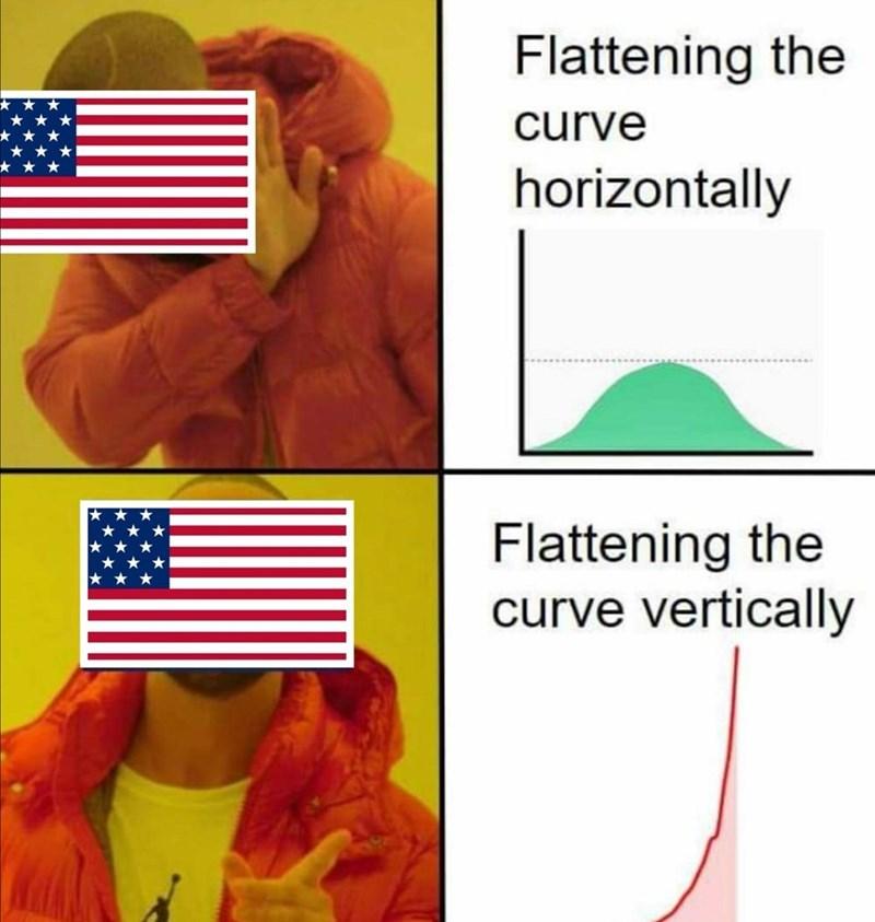 top ten 10 dank memes daily | Flattening curve horizontally Flattening curve vertically Drakeposting coronavirus pandemic covid-19 usa america