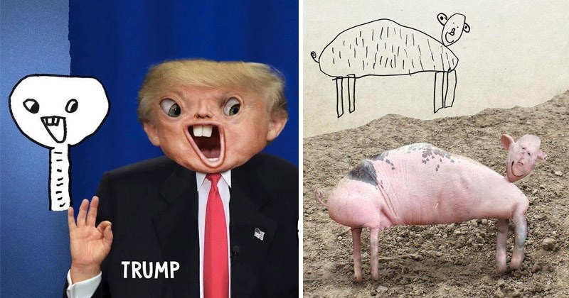 Funny and creepy recreations of things that kids draw | Donald Trump photoshopped into the shape of a children's drawing | messed up depiction of a pig drawn by a child