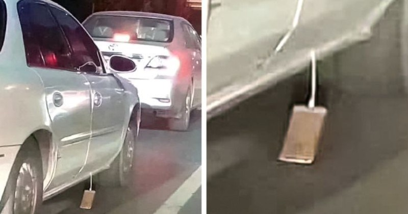 A collection of unfortunate moments from people struggling through life | phone attached to a cord dragging on the asphalt road from the closed door of a moving car