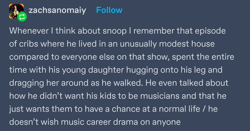 Funny and wholesome Tumblr thread about Snoop Dogg | zachsanomaiy Follow Whenever think about snoop remember episode cribs where he lived an unusually modest house compared everyone else on show, spent entire time with his young daughter hugging onto his leg and dragging her around as he walked. He even talked about he didn't want his kids be musicians and he just wants them have chance at normal life he doesn't wish music career drama on anyone