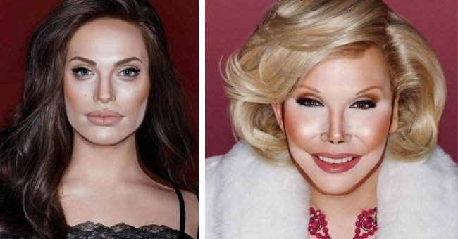 pictures of drag queen makeup artist transforming himself into celebrities - cover pic Angelina Jolie and Joan Rivers