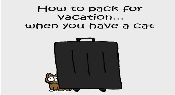 How To Pack For Vacation When You Have a Cat (Comics) | pack vacation have cat cute funny illustration drawing of a kitten standing behind a big black suitcase