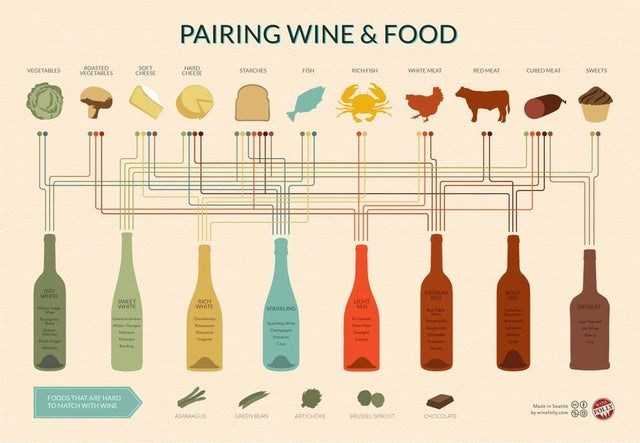 top ten daily infographics guides | Animal - PAIRING WINE FOOD VEGETABLES ROASTTD JARD STARCHES FISH RICHFISH WTEMEAT REDMEAT CURED MEAT SWEETS VEGETASLES CHEES DRY wes WET SANG Oh FOODS ARIE HARD MATCH WITH WINE Made See O0 ASPARAGS GREENBEAN uss SOUT CHOCOLATE