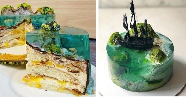 pictures of cakes that look like real tropical islands