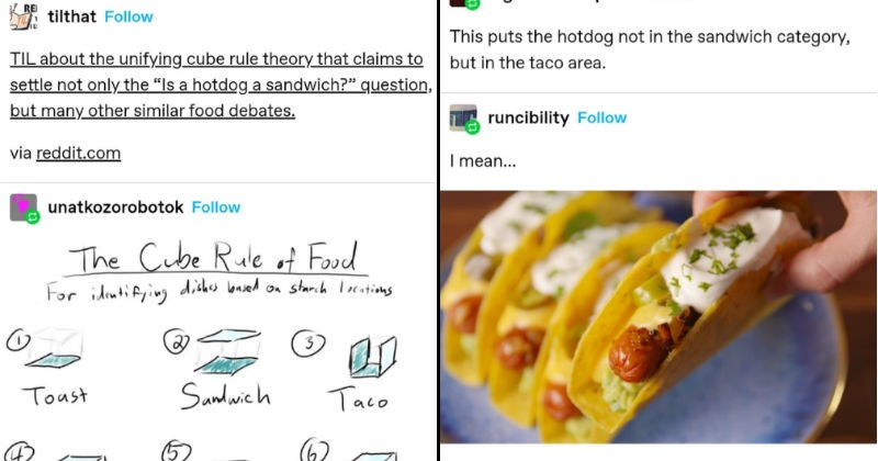 Tumblr thread says that hot dogs are a kind of taco | haha-cluck cadaverkeys Follow REI tilthat Follow TIL about unifying cube rule theory claims settle not only Is hotdog sandwich question, but many other similar food debates. via reddit.com unatkozorobotok Follow Cube Rule Food idiutifying dishes lbaved on starch locations 3 Toust Sandwich Taco Soyp/S. fud w/'Bread Boul Sushi Calzone | an bigdickfartsapolka Follow This puts hotdog not sandwich category, but taco area. runcibility Follow mean