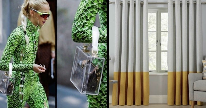 ugly, strange, weird and stupid design fails | woman in a green snakeskin outfit carrying a regular purse inside a clear plastic purse | curtains that are white at the top and yellow at the bottom that look like cigarettes