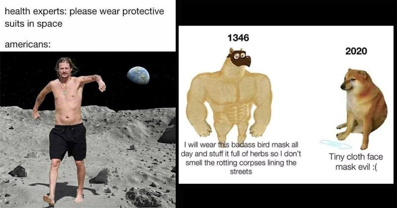 Funny memes about the pandemic, people who refuse to wear masks | health experts: please wear protective suits space americans: shirtless Kid Rock on the moon | 1346 2020 will wear this badass bird mask all day and stuff full herbs so don't smell rotting corpses lining streets Tiny cloth face mask evil Swole Doge vs Cheems