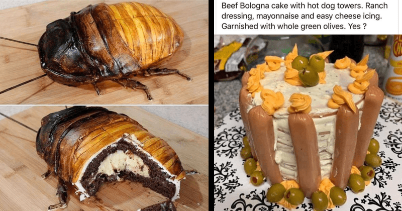 cursed food images, gross foods, nasty food, disgusting food memes, bad food, cockroach cake, bologna cake | Beef Bologna cake with hot dog towers. Ranch dressing, mayonnaise and easy cheese icing. Garnished with whole green olives. Yes CHe | cake shaped like a giant beetle cockroach