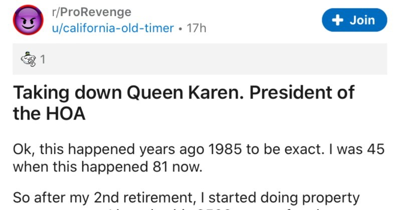 Queen Karen, president of the HOA gets defeated | r/ProRevenge u/california-old-timer 17h Join 1 Taking down Queen Karen. President HOA Ok, this happened years ago 1985 be exact 45 this happened 81 now. So after my 2nd retirement started doing property management bought this 2500 square foot luxury home with sole intention renting out. Now didn't know bad HOA but became owner soon found out. This all took place 2 years time