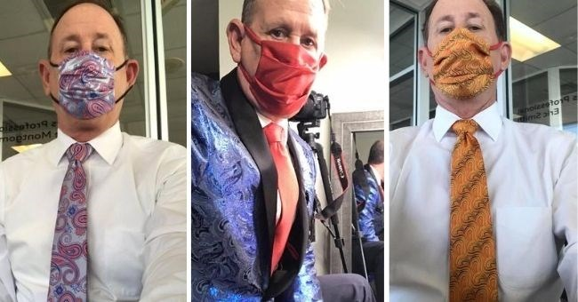 pictures of dad who went viral for matching his ties to his face masks every day