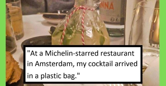 pictures of creative food presentations from fine dining restaurants - cover pic pictures of cocktail in a plastic bag from michelin starred restaurant in Amsterdam