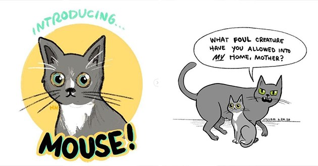 hannah hillam cat comics funny lol hilarious relatable cute adorable art artist aww | cartoon illustration of a grey cat with round eyes INTRODUCING MOUSE! | FOUL CREATURE HAVE ALLOWED INTO MY HOME, MOTHER? HILLAM