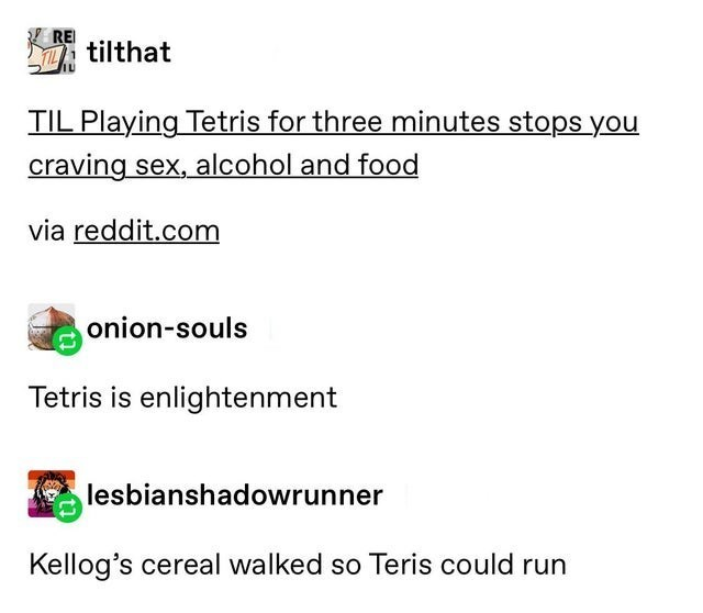top ten 10 tumblr posts daily | RE tilthat TIL Playing Tetris three minutes stops craving sex, alcohol and food via reddit.com onion-souls Tetris is enlightenment lesbianshadowrunner Kellog's cereal walked so Teris could run