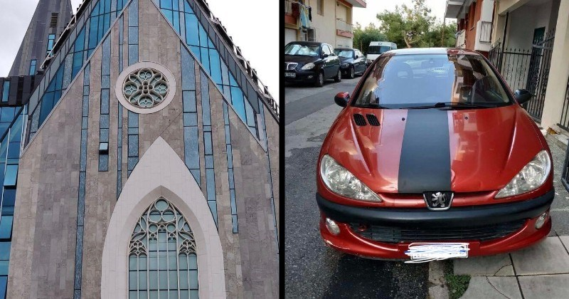 Annoying and imperfect images | round stained glass window misaligned with the door beneath it | car with wonky paint job
