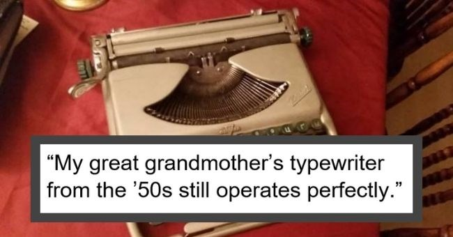 """picture of old typewriter """"My great grandmother's typewriter from the '50s still operates perfectly."""""""