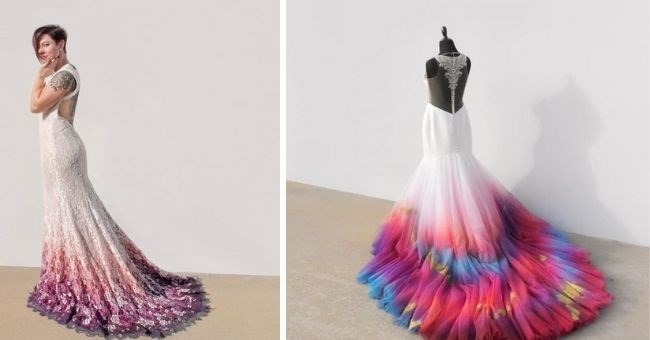 pictures of colorful wedding dresses beautiful dip dye gradient colors