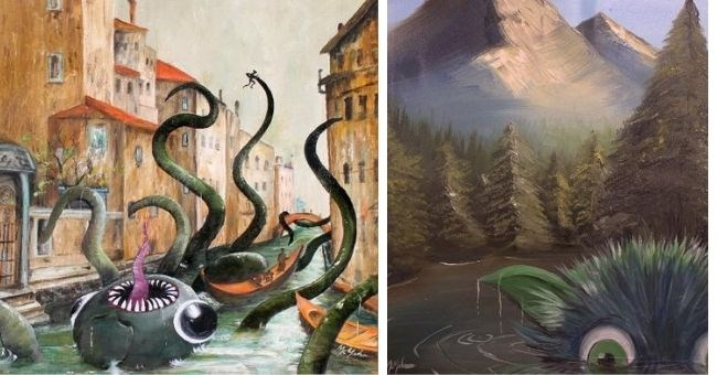 artist adds monsters into thrift store paintings - monster in river monster with mountains
