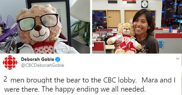 stolen teddy bear returned tweets ryan reynolds late mother voice recording aww heartbreaking happy ending kindness love | Deborah Goble @CBCDeborahGoble 2 men brought the bear to the CBC lobby. Mara and I were there. The happy ending we all needed.