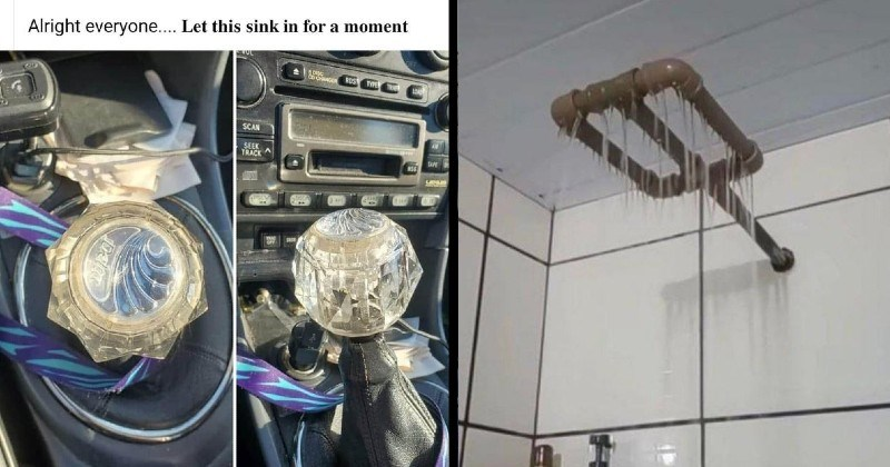 low budget fixes and diy solutions | Alright everyone Let this sink moment car gear stick replaced with a glass bathroom knob | pipe with holes poked in it as a shower head
