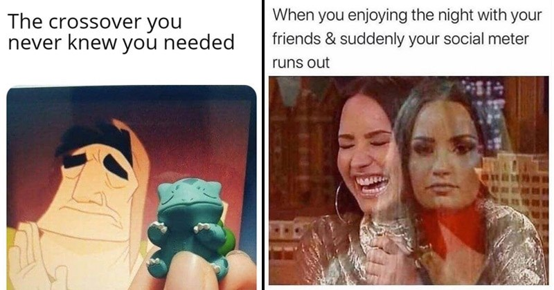 Funny random memes and tweets | crossover never knew needed Pacha from the Emperor's New Groove and Bulbasaur from Pokemon | freud.intensifies enjoying night with friends suddenly social meter runs out Demi Lovato