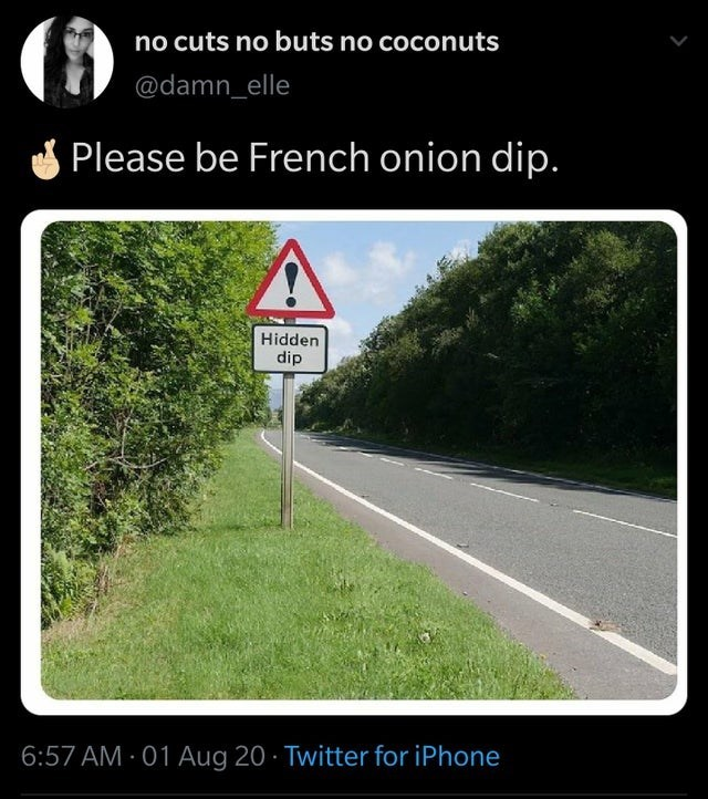 top ten daily tweets from white people twitter | Person - no cuts no buts no coconuts @damn_elle Please be French onion dip. Hidden dip 6:57 AM 01 Aug 20 Twitter iPhone