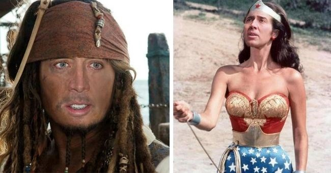 pictures of nicolas cage photo shopped onto actors faces - nicolas cage as jonny Depp pirates of the Caribbean and Wonder Woman