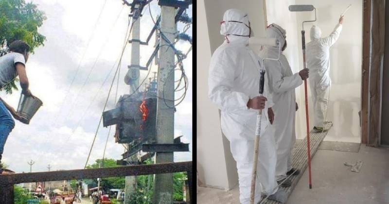 OSHA safety fails | person about to throw a bucket of water at burning electrical cables | person in a hazmat suit painting a wall in midair by standing on a plank supported by two other people stabilizing it
