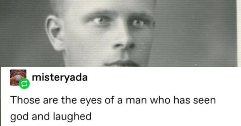 Tumblr history thread about soldier who got home with amphetamines | MAA misteryada Those are eyes man who has seen god and laughed