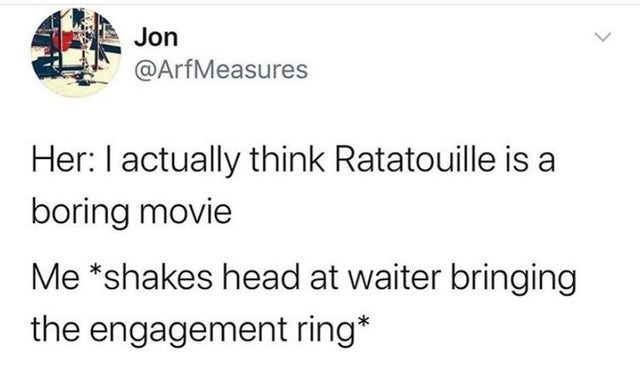 top daily tweets from white people twitter | Jon @ArfMeasures Her actually think Ratatouille is boring movie shakes head at waiter bringing engagement ring*