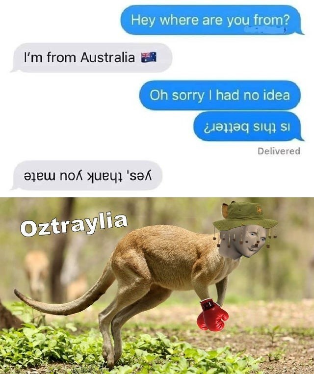 top ten 10 memes daily | Hey where are Australia Oh sorry had no idea is this better? Delivered yes, thank mate Oztraylia australians writing texts upside down