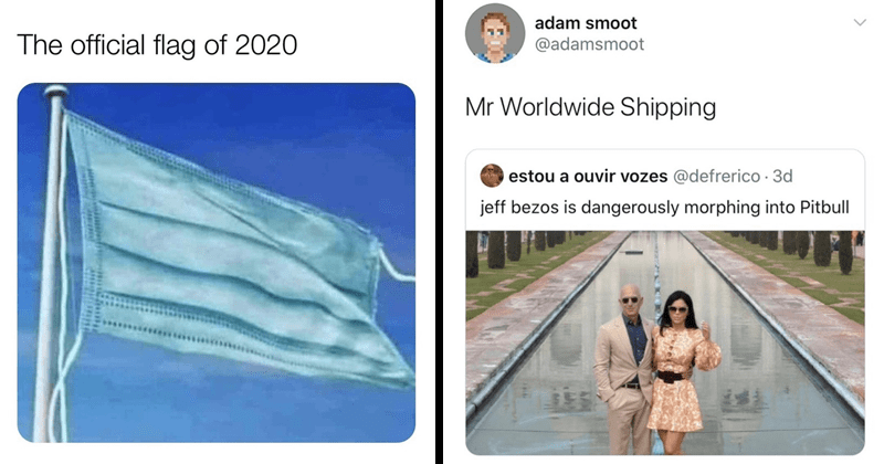funny random memes | official flag 2020 face mask | adam smoot @adamsmoot Mr Worldwide Shipping estou ouvir vozes @defrerico 3d jeff bezos is dangerously morphing into Pitbull