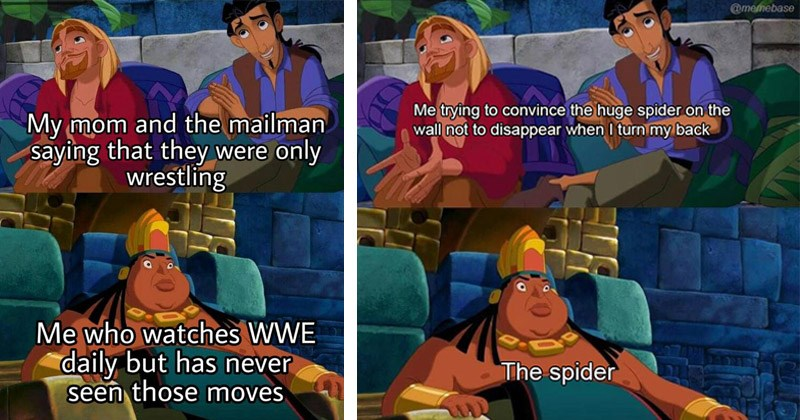 "Funny dank memes from the animated movie ""The Road to El Dorado"" entitled, ""Tulio and Miguel Lying to Chief Tannabok"" 