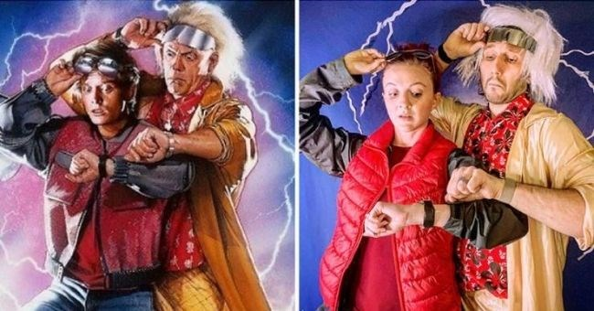 pictures of couple reenacting movie posters - cover pic reenacting back to the future
